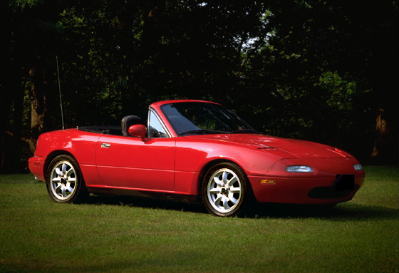 Red Mazda Capella 1989