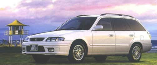 White Mazda Capella 1998