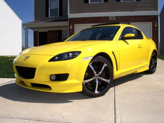 Yellow Mazda RX-8 2009