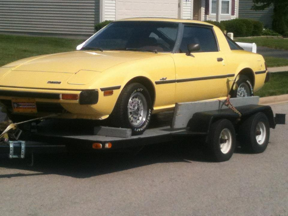 Yellow Mazda RX7 1978